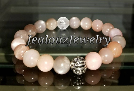 "Deep Healing Protection Stress Relief Mixed Moonstone Gemstone 7"" Stretch Yoga Mantra Bracelet 925 Sterling Silver Lucky Dragon"