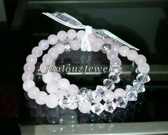 "Crystal Rose Quartz  925 Thai Sterling Silver 8mm Gemstone 7"" Stretch 3pc Stack Bracelet Arm Candy Set"