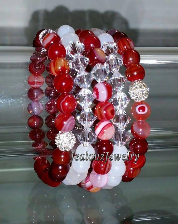 "Crystal White Dark Multicolor Red Agate Gemstone 7"" Shamballa Rhinestone Stretch Bracelet Arm Candy Stack Set"