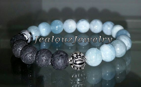 "Ice Blue Beryl Aquamarine Black Lava Gemstone 7"" Stretch Essential Oils Yoga Bracelet 925 Sterling Silver Lucky Dragon Quartz Mens Mala"