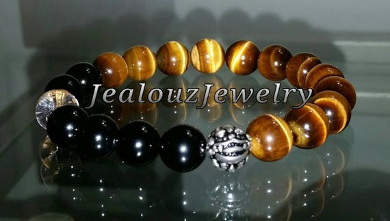 "Grade AAA Tiger Eye Black Onyx Gemstone 7"" Stretch Yoga Bracelet 925 Sterling Silver Lucky Dragon Quartz Mens"