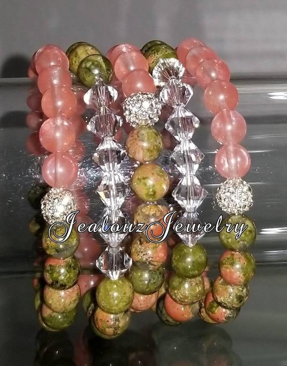 "5 Crystal Olive Green Pink Salmon Quartz Gemstone 7"" Shamballa Rhinestone Stretch Bracelet Arm Candy Stack Set"