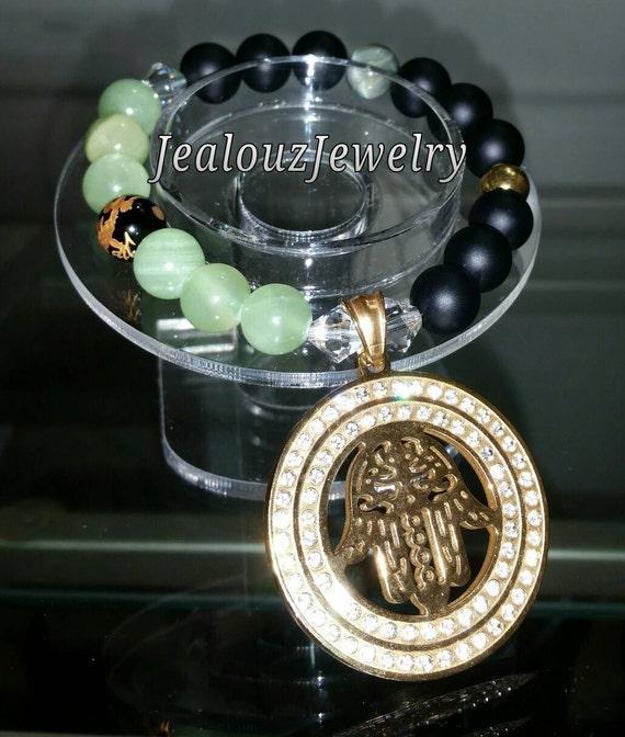 Gold Stainless Steel Lucky Medallion Hamsa Lt Green Jade Matte Black Agate Gemstone Beaded Stretch Bracelet