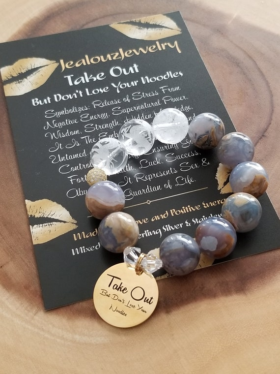 Chunky Natural 16mm Chalcedony Carved Gemstone Bead Bracelet Gold Coin Take Out But Don't Lose Your Noodles