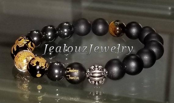 "Gold Gray Hematite Energy Protection Gemstone 7"" Stretch Yoga Bracelet 925 Sterling Silver Lucky Dragon Quartz"