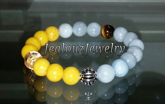 "Ice Blue Beryl Aquamarine Golden Yellow Jade Gemstone 7"" Stretch Yoga Bracelet 925 Sterling Silver Lucky Dragon Quartz Mens"