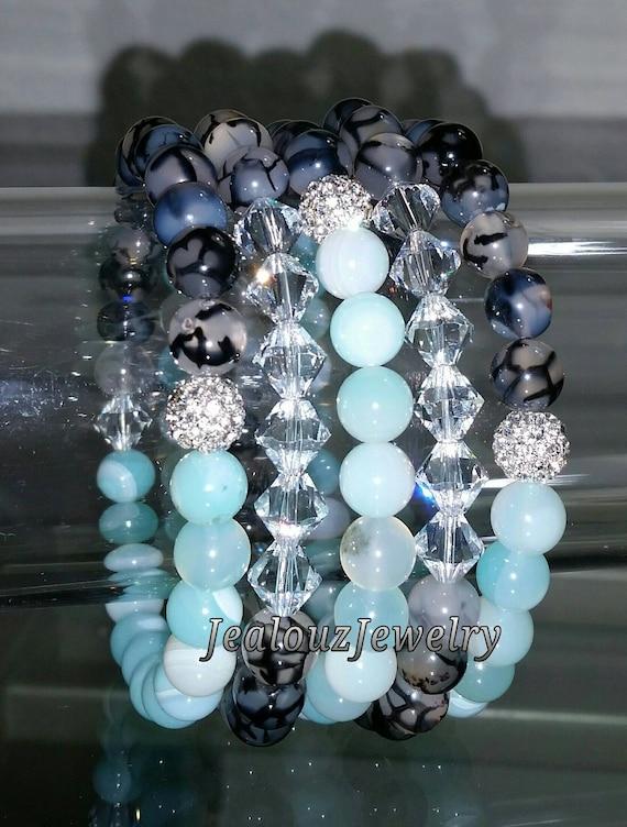 "5 Crystal Lt Turquoise Black Gray Dragon Agate Jade Gemstone 7"" Rhinestone Stretch Bracelet Arm Candy Stack Set"