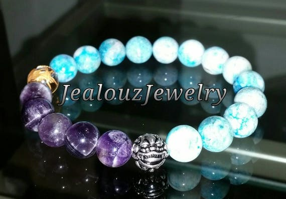 "Purple Amethyst Turquoise Hemimorphite Healing Wealth Meditation Gemstone 7"" Stretch Yoga Bracelet 925 Sterling Silver Lucky Dragon"