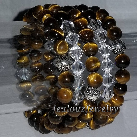 "925 Thai Sterling Silver Grade A Tiger Eye 8mm Gemstone 7"" Stretch 5pc Stack Bracelet Arm Candy Set Made With Swarovski Crystal"