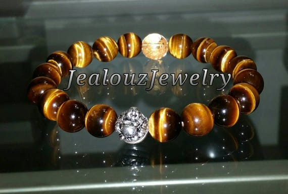 "Grade AAA Tiger Eye Gemstone 7"" Stretch Yoga Bracelet 925 Sterling Silver Lucky Laughing Buddha Quartz Mens Mala"