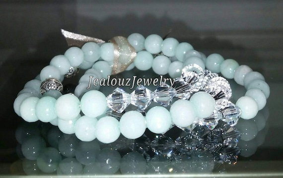 "Crystal Mint Amazonite 925 Thai Sterling Silver 8mm Gemstone 7"" Stretch 3pc Stack Bracelet Arm Candy Set"