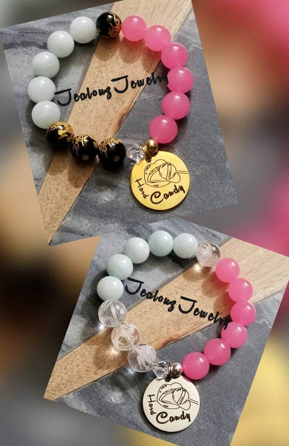 JealouzJewelry I Love Hard Candy 12mm Gemstone Jade Mixed Metal Sterling Silver & Stainless Steel Coin Bracelet