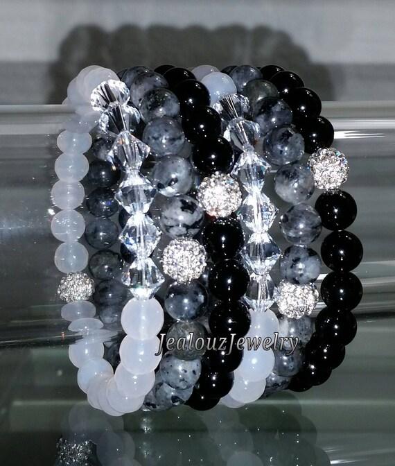 """6 Crystal White Agate Gray Labradorite Black Onyx Gemstone 7"""" Shamballa Rhinestone Stretch Bracelet Arm Candy Stack Set"""