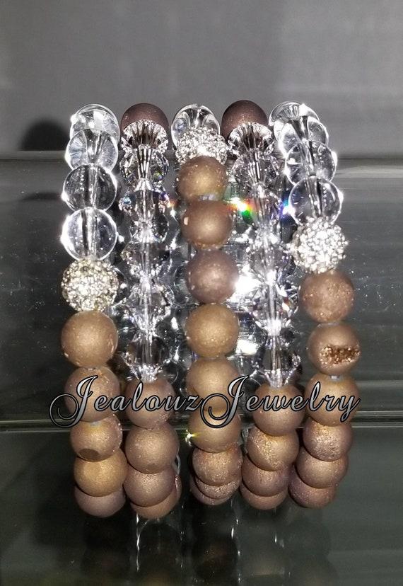 "5 Crystal Sparkly Bronze Brown Druzy Clear Quartz Gemstone 7"" Rhinestone Stretch Bracelet Arm Candy Stack Set"