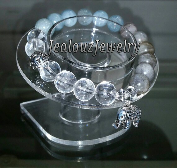 Sterling Silver 925 Lucky Infinity Elephant Clear Quartz Aquamarine Labradorite Gemstone Beaded Stretch Healing Wealth Protection Bracelet