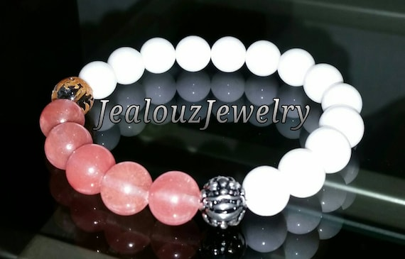 "Pink Salmon Quartz White Jade Gemstone 7"" Stretch Yoga Bracelet 925 Sterling Silver Lucky Dragon Quartz"