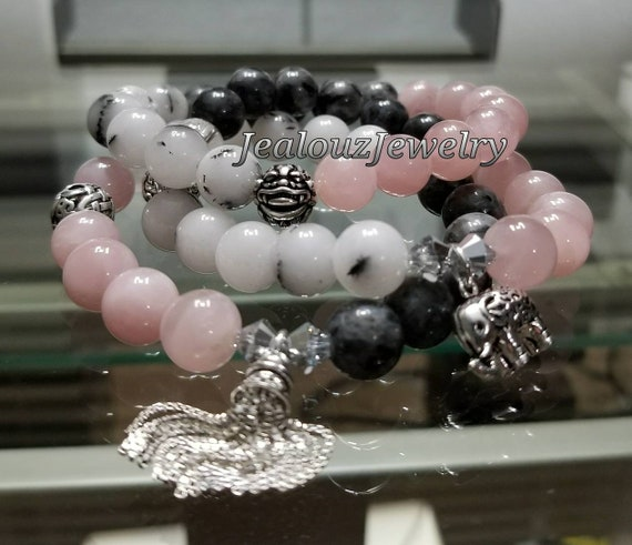 Healing Love Protection Balance Strength Pink Rose Quartz Gray Labradorite Dalmatian White Jade Sterling Silver Gemstone Bracelet Set