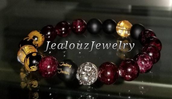 "Garnet Red Gemstone 7"" Stretch Yoga Bracelet 925 Sterling Silver Lucky Laughing Buddha Quartz Mens Mala"