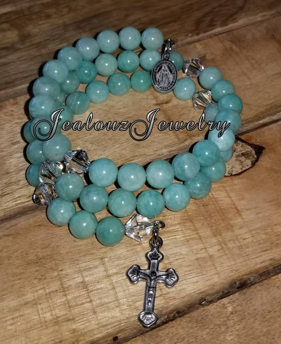 Stainless Steel Healing Amazonite Gemstone 8mm bead Rosary Wrap Cross Bracelet