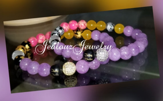 Cubic Zirconia 925 Sterling Silver Gold Lucky Dragon 8mm Lavender Hot Pink Yellow Multi Color Gemstone Bracelet