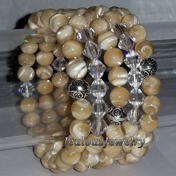 "925 Thai Sterling Silver Grade A Tan Mother Of Pearl 8mm Gemstone 7"" Stretch 5pc Stack Bracelet Arm Candy Set Made With Swarovski Crystal"