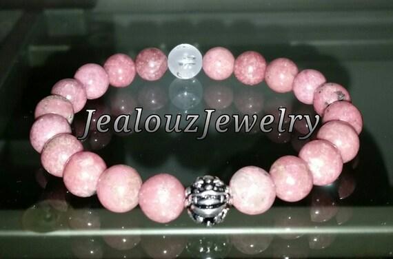 "Pink Rhodonite Gemstone 7"" Stretch Yoga Love Forgiveness Bracelet 925 Sterling Silver Lucky Dragon Meditation Om"
