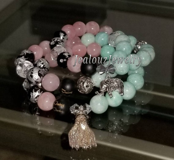 Sterling Silver Charm Pink Rose Quartz Teal Amazonite Gemstone Protection Energy Passion Forgiveness Love Wealth Healing Bracelet Set