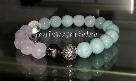 Sterling Silver 925 Lucky Infinity Knott Amethyst Aquamarine Amazonite Gemstone Beaded Stretch Bracelet