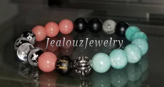 "Pink Salmon Quartz White Jade Gemstone 7"" Stretch Yoga Bracelet 925 Sterling Silver Lucky Dragon Quartz"