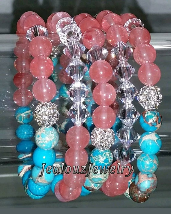 "5 Crystal Salmon Turquoise Blue Gemstone 7"" Shamballa Rhinestone Stretch Bracelet Arm Candy Party Stack Set"