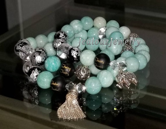 Sterling Silver Charm Teal Amazonite Black Onyx Quartz Gemstone Protection Energy Passion Forgiveness Love Wealth Healing Bracelet Set
