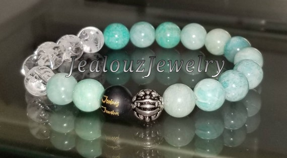 "Light Turquoise Amazonite Throat Chakra Gemstone 7"" Stretch Meditation Yoga Bracelet 925 Sterling Silver Lucky Dragon Mens"