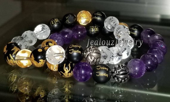 Carved Gold #2 #24 Jersey Sterling Silver Lucky Dragon Matte Black Mamba Mentality Onyx Purple Healing Amethyst Yoga Gemstone Bracelet Set