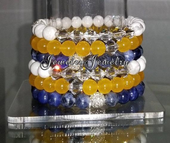 "6 Crystal White Turquoise Yellow Jade Navy Blue Sodilite Gemstone 7"" Shamballa Rhinestone Stretch Bracelet Arm Candy Stack Set"