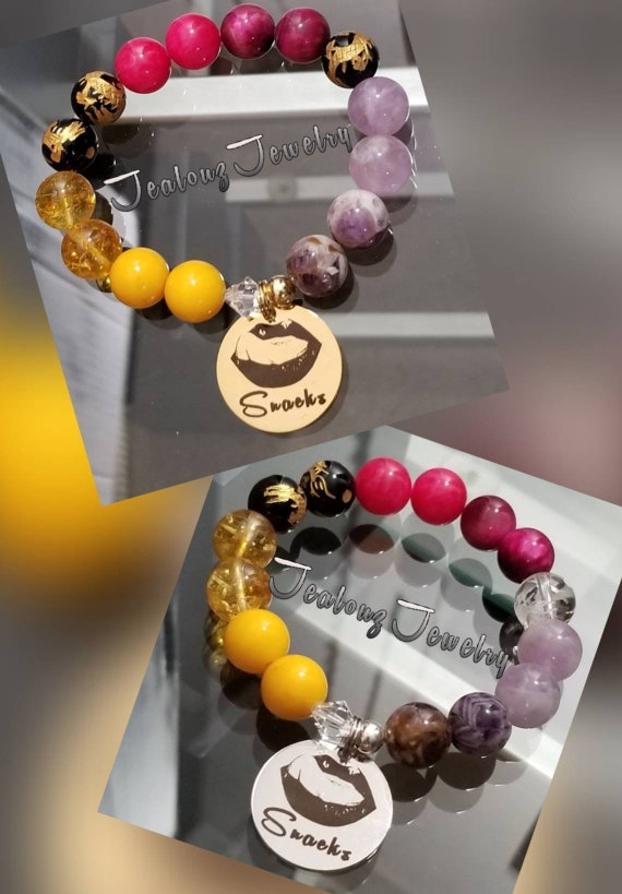 Chunky I Love Snacks 12mm Gemstone Jade Citrine  Tiger Eye Mixed Metal Sterling Silver & Stainless Steel Coin Charm Bracelet