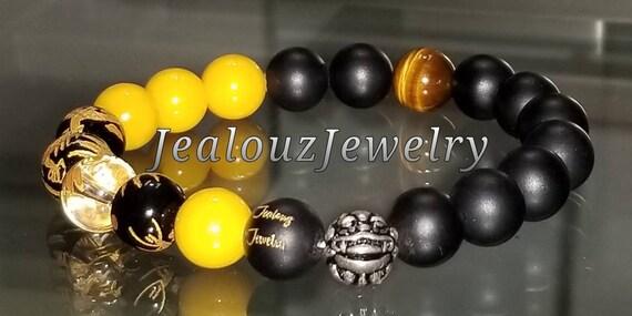 "Positive Energy Protection Sterling Silver Lucky Dragon Matte Black Yellow Jade Gemstone Hip Hop Mens Beaded Stretch Yoga 7"" Bracelet"