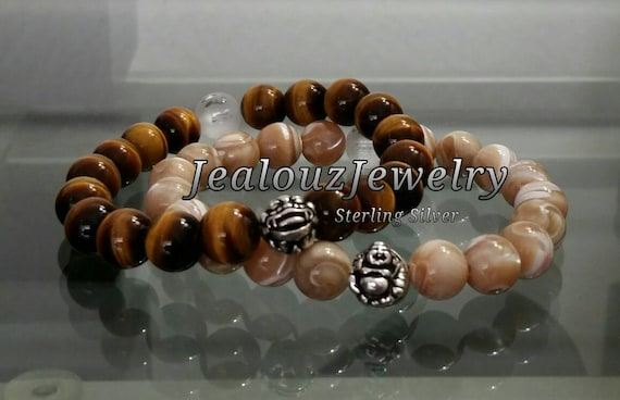 "High Quality Tan Mother of Pearl Tiger Eye Gemstone 7"" Stretch Yoga Mens Mala Bracelet 925 Sterling Silver Lucky Laughing Buddha Dragon Set"