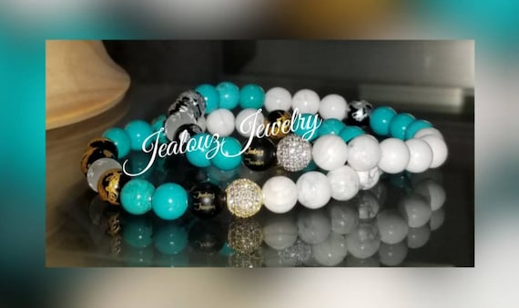 Cubic Zirconia 925 Sterling Silver Gold Lucky Dragon 8mm Turquoise White Howlite Multi Color Gemstone Bracelet