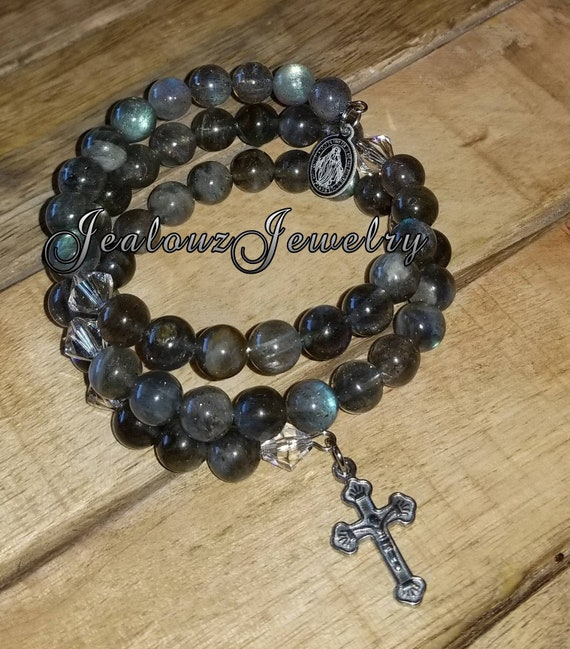 Stainless Steel Energy Healing Protection Gray Labradorite Gemstone Rosary Wrap Cross Bracelet
