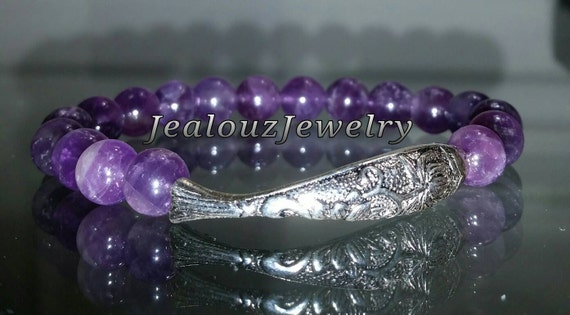 Sterling Silver Healing Lucky Koi Fish Amethyst Gemstone Beaded Stretch Yoga Mala Bracelet