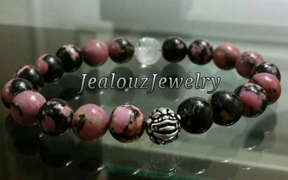 "Pink Rhodonite Gemstone 7"" Stretch Yoga Love Forgiveness Bracelet 925 Sterling Silver Lucky Dragon"