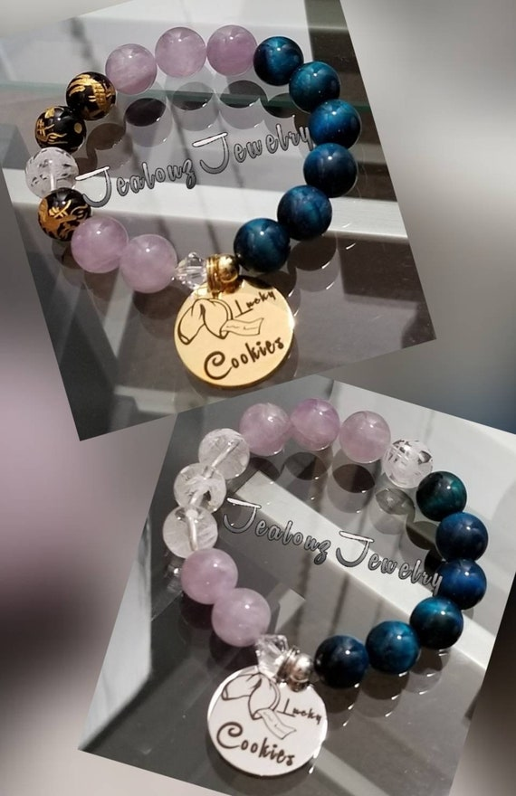 Chunky I Love Lucky Fortune  Cookie 12mm Gemstone Amethyst Blue Tiger Eye Mixed Metal Sterling Silver & Stainless Steel Coin Charm Bracelet