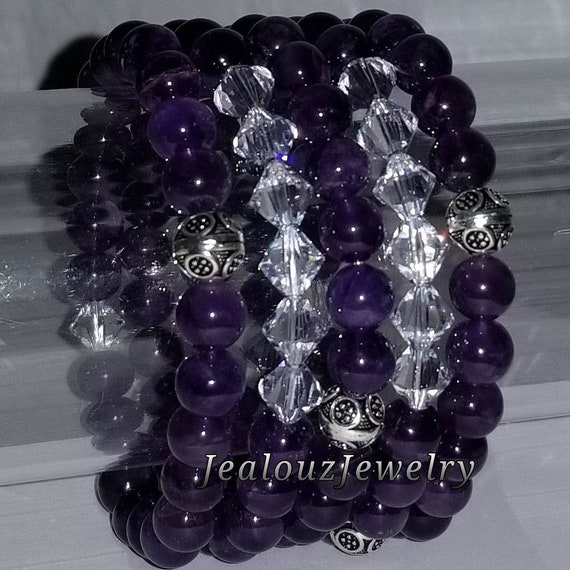 "925 Thai Sterling Silver Grade A Purple Amethyst 8mm Gemstone 7"" Stretch 5pc Stack Bracelet Arm Candy Set Made With Swarovski Crystal"