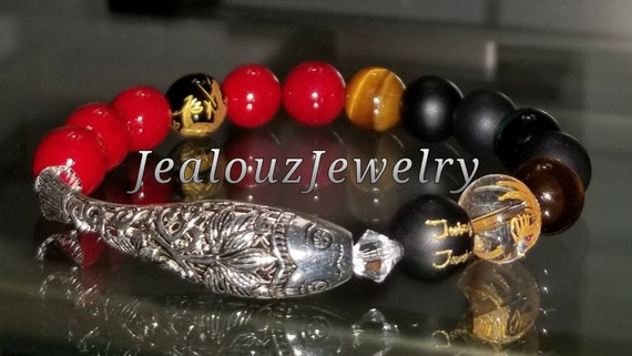 Sterling Silver Lucky Lotus Flower Koi Fish Matte Black Gold Onyx Tiger Eye Red Gemstone Protection Against Negative Energy Healing Bracelet