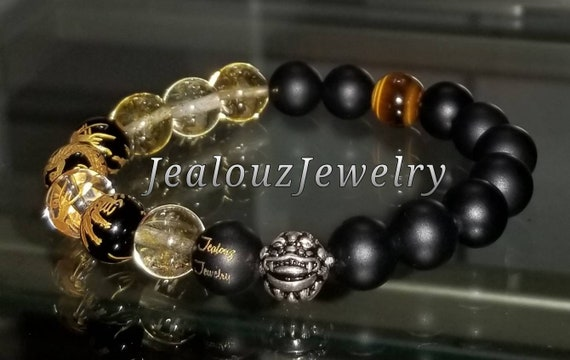 "Citrine Gemstone 7"" Stretch Yoga Bracelet 925 Sterling Silver Lucky Pixiu Dragon Matte Black Gold Mens Wealth Mala"