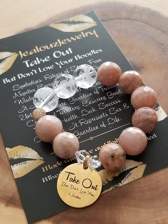 Chunky Natural 16mm Sunstone Carved Gemstone Bead Bracelet Gold Coin Take Out But Don't Lose Your Noodles