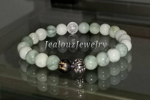 Protection Against Negative Energy Wealth Sterling Silver Lucky Dragon Matte Black Green Jadeite Jade 8mm Gemstone Stretch Yoga Bracelet