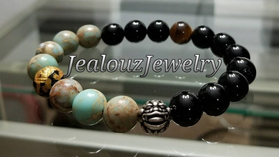 "Light Turquoise Serpentine Black Onyx Chakra Gemstone 7"" Stretch Meditation Yoga Bracelet 925 Sterling Silver Lucky Dragon Mens"