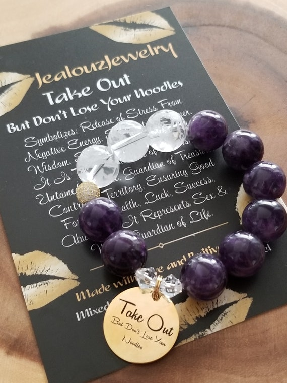 Chunky Natural 16mm Amethyst Carved Gemstone Bead Bracelet Gold Coin Take Out But Don't Lose Your Noodles
