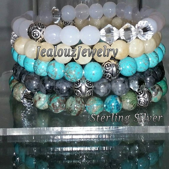 "5 Sterling Silver White Light Yellow Jade Turquoise Gray Labradorite Ocean Jasper Gemstone Beaded 7"" Stretch Bracelet Set"